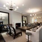 Phòng khách hiện đại với gương trang trí